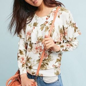 Harlyn Floral Sweater with Ruffle size Large